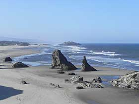 Large rock formations on the Bandon coast